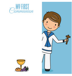 Card my first communion vector