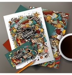 Cartoon doodles cinema corporate identity vector