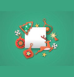 christmas card paper cut decoration template frame vector image