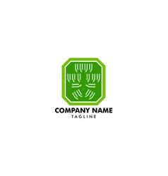 circuit logo template icon design vector image
