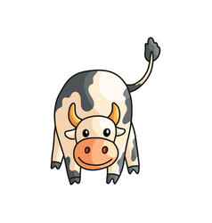 Close up front view of funny smiling spotted cow vector