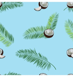 Coconut palm leaves seamless pattern on blue vector
