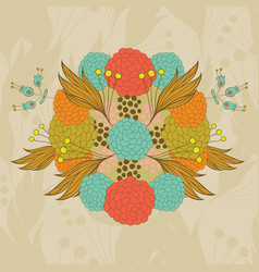 colorful hand- drawn floral pattern vector image