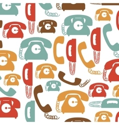 Colorful pattern with phones with cord vector