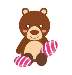 Cute bear with sweet candy gums vector
