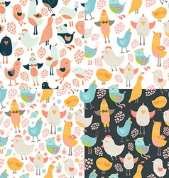 Cute birds seamless background set vector image
