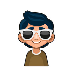 Cute young man with glasses avatar cartoon style vector