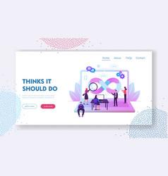 Devops specialists work collaboration website vector