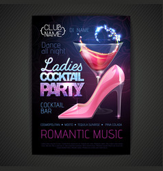 disco party poster ladies night vector image