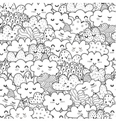 Doodle clouds black and white seamless pattern vector