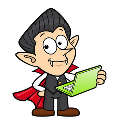 Dracula character is holding a laptop halloween vector