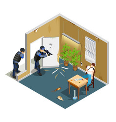 Drug addict isometric composition vector