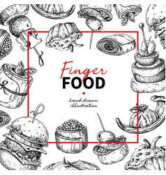 Finger food frame drawing catering service vector