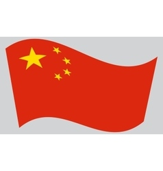 Flag of China waving on gray background vector