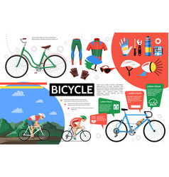 Flat bicycle infographic template vector