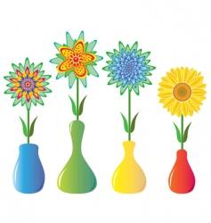flowers in vases vector image