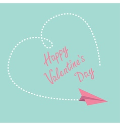 Flying paper plane Big heart Valentines Day vector