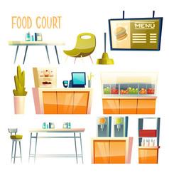food court interior elements cartoon set vector image