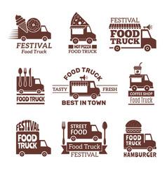 food truck logo street festival van fast catering vector image