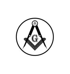Freemasonry emblem masonic square and compass vector