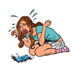 girl and broken phone crying screaming vector image