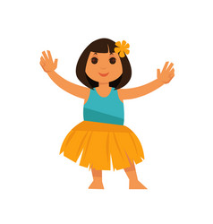 Girl from hawaii in straw skirt and blue shirt vector
