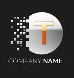 Golden letter t logo symbol in silver pixel circle vector