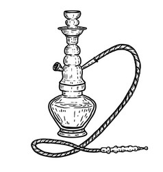 Hand drawn hookah isolated on white background vector