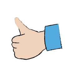 Hand showing thumbs up gesture ok vector