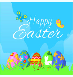 happy easter with ornamented eggs on grass and vector image