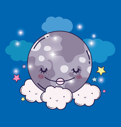 Happy moon and cute fluffy clouds with stars vector