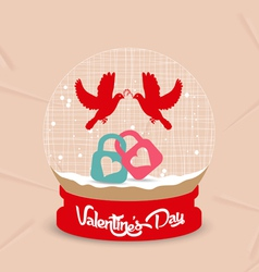 Happy valentines day couple bird and lock globe vector