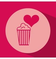 Heart red cartoon pop corn icon design vector