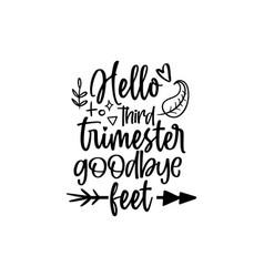 Hello third trimester goodbye feet vector