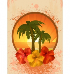 hibiscus flowers and palm trees vector image