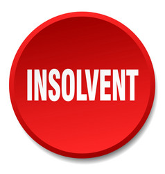 Insolvent red round flat isolated push button vector