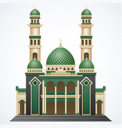 islamic mosque building with green dome and two to vector image
