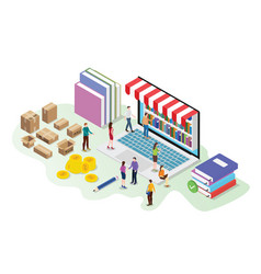 Isometric 3d online book store concept with vector