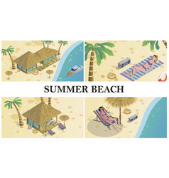 isometric summer time composition vector image