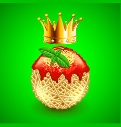 Italian spaghetti clew and crown over it on green vector