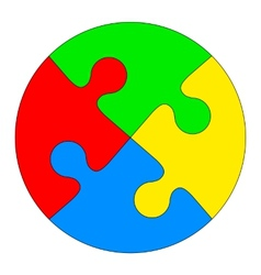 Jigsaw puzzle in the form of a colored circle vector image