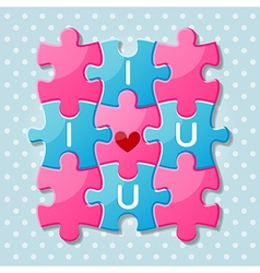 Jigsaw puzzle pieces with words I love you vector image
