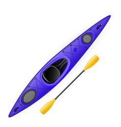 kayak and paddle - modern rafting canoe top and vector image