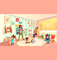 Kids in montessori school classroom cartoon vector