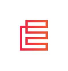 letter e logo concept continous line style vector image