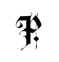 Letter p in gothic style alphabet the symbol vector