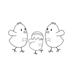 little chicks with broken eggs easter characters vector image