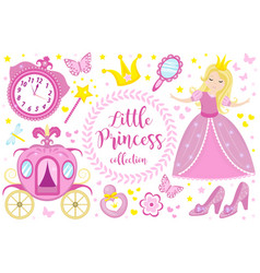 little princess cute pink set objects icons vector image