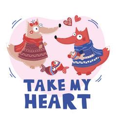 love fox valentine day cartoon animal set vector image