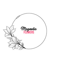 Magnolia contour drawing branch round frame vector